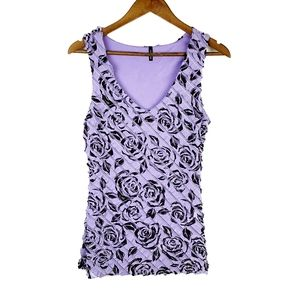 Maurices Womens Floral Print Purple Tank Top Med